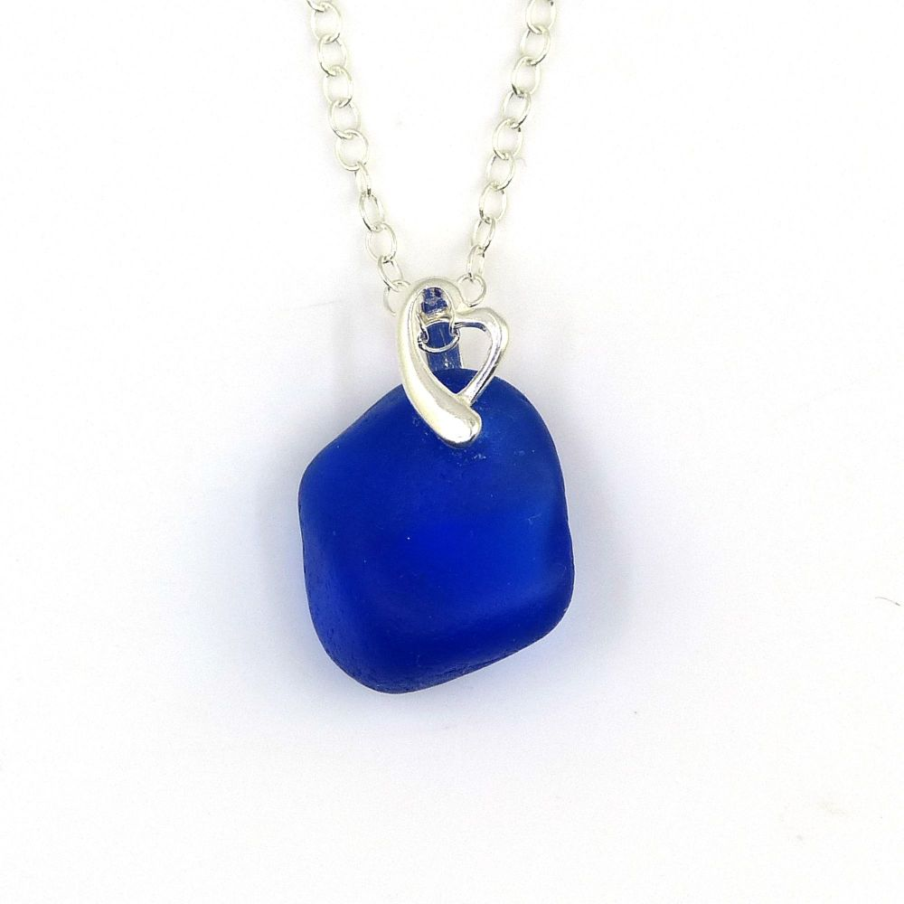 Cobalt Blue Sea Glass and Sterling Silver Heart Necklace CECILIA