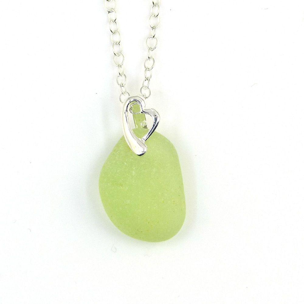 Rare! UV (Ultraviolet) Sea Glass Necklace ASTRID