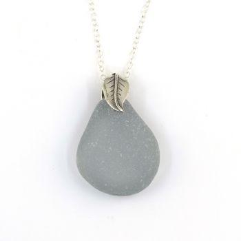 Rare Grey Sea Glass Necklace  OLIVIA