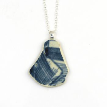 Blue and White English Beach Pottery Pendant Necklace MARIS
