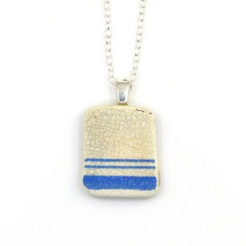 Blue and White Stripey Beach Pottery Pendant Necklace CORA