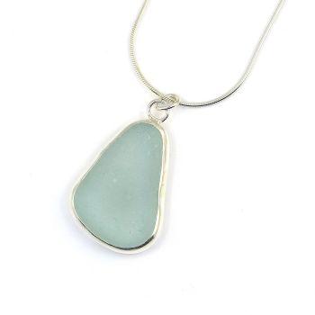 Bezel Set Seafoam Blue Sea Glass Pendant Necklace JENNA