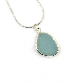 Bezel Set Pale Aquamarine Blue Sea Glass Pendant Necklace GALI