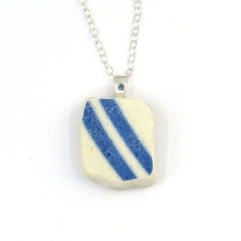 Blue and White English Beach Pottery Pendant Necklace P139