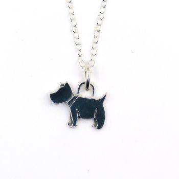Sterling Silver Scottie Dog Necklace - Simple - Dainty - Minimalist