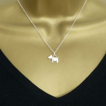Sterling Silver Scottie Dog Necklace - Simple - Dainty - Minimalist