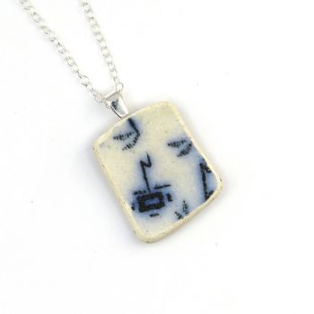 White and Deep Blue Patterned English Beach Pottery Pendant Necklace P135