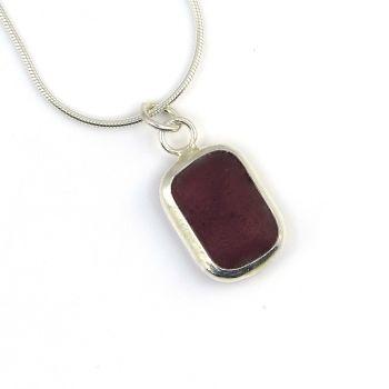 Rare Amethyst Sea Glass Backless Bezel Set Pendant Necklace B263
