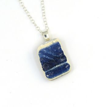 Blue and White English Beach Pottery Pendant Necklace P133