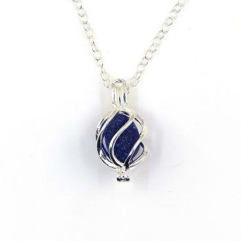 Cobalt Blue Sea Glass in Tiny Swirl  Locket Necklace L192