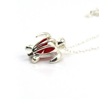 Seaham Turtle Locket with Red Sea Glass