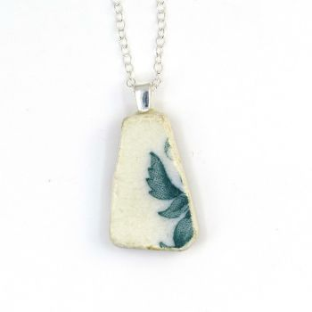 Green and White English Beach Pottery Pendant Necklace P138