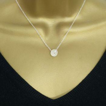 White Sea Glass Bead Necklace