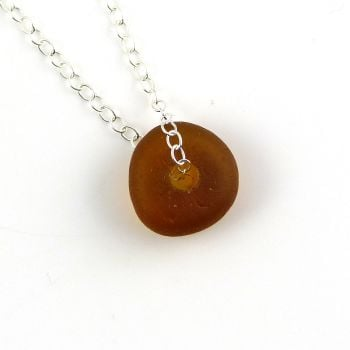 Brown Sea Glass Bead Necklace