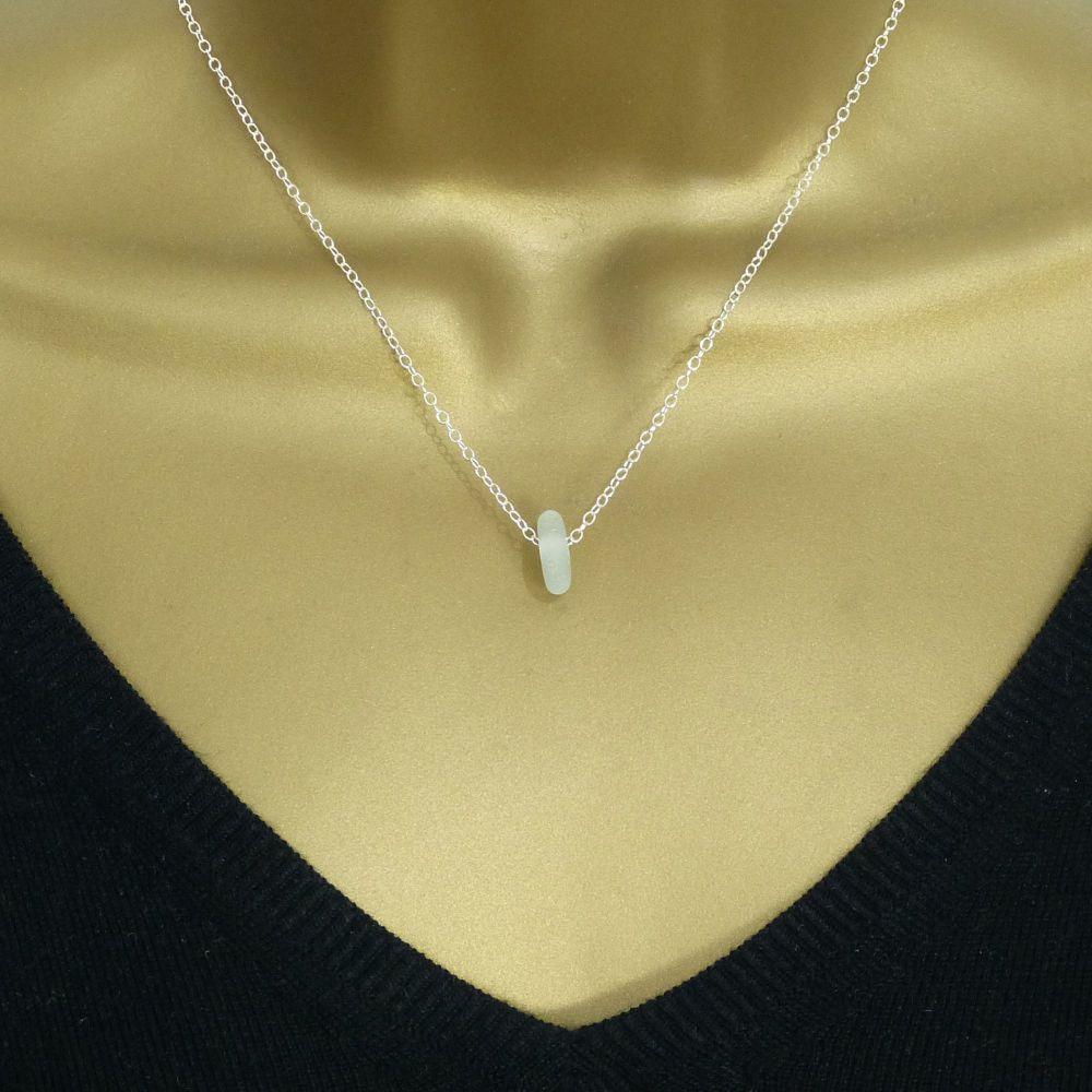 Pale Blue Sea Glass Bead Necklace