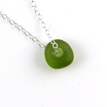 Yellow Green Sea Glass Bead and Silver Necklace