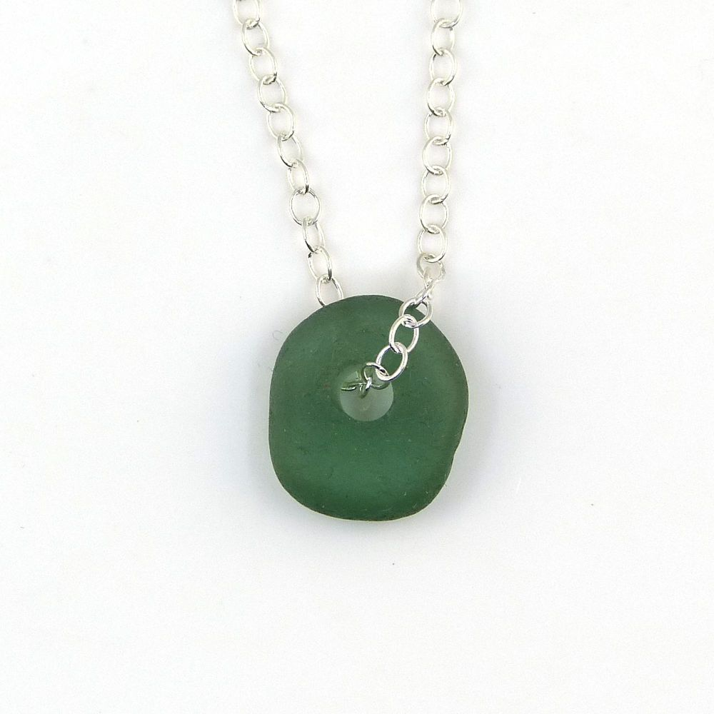 Blue Green Sea Glass Bead Necklace