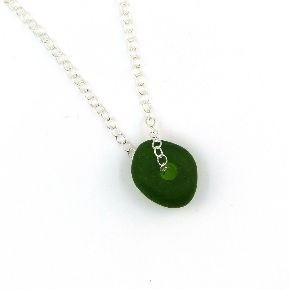 Emerald Green Sea Glass Bead and Silver Necklace
