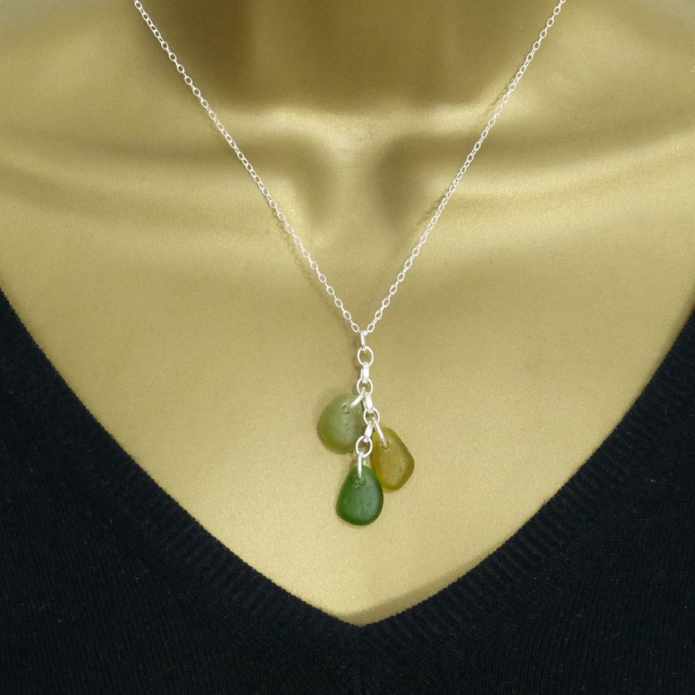 Olive Yellow, Amber and Emerald Green Sea Glass and Sterling Silver Cluster