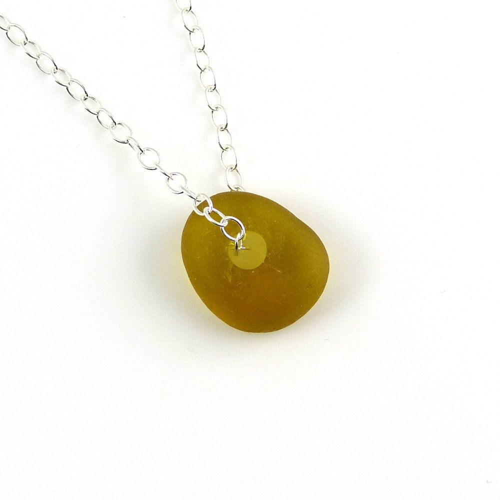 Amber Sea Glass Bead Necklace
