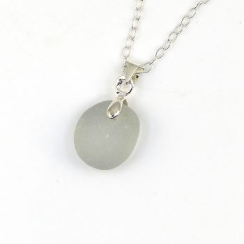Tiny Pale Grey Sea Glass and Sterling Silver Necklace ELISE