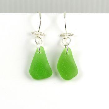 Emerald Green Sea Glass Angel Wings Drop Earrings E181