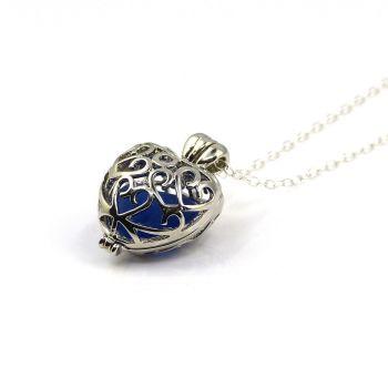 Sea Glass Necklace, Silver Heart Locket, Cobalt Blue Sea Glass L198