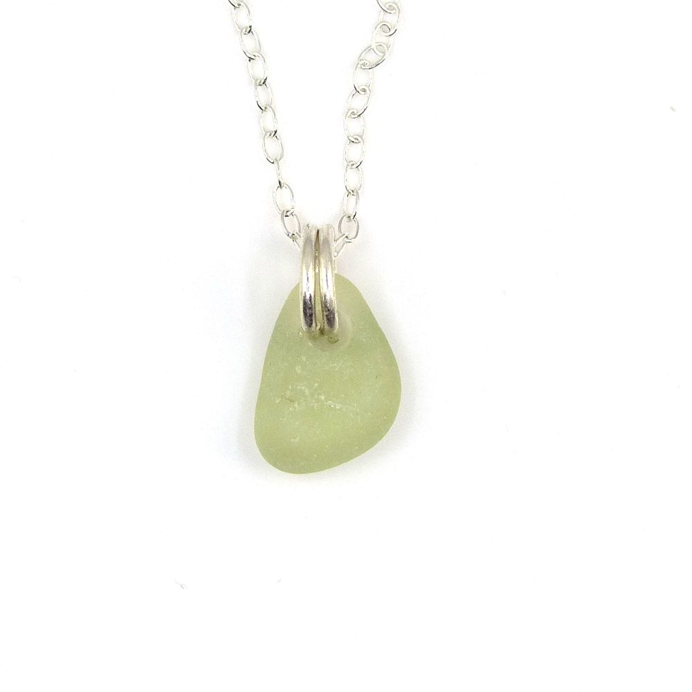 Tiny Pale Sage Green Sea Glass and Sterling Silver Necklace