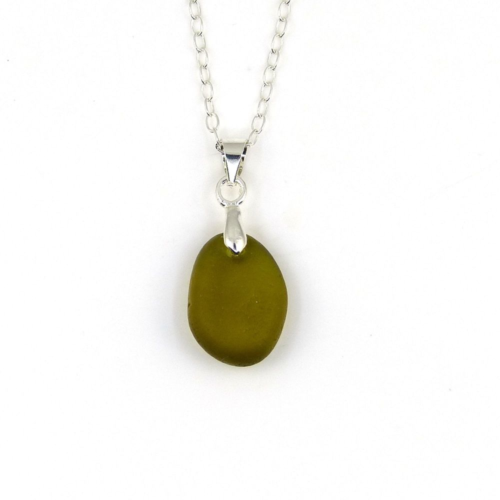 Tiny Peridot Sea Glass and Sterling Silver Necklace JULIETTE