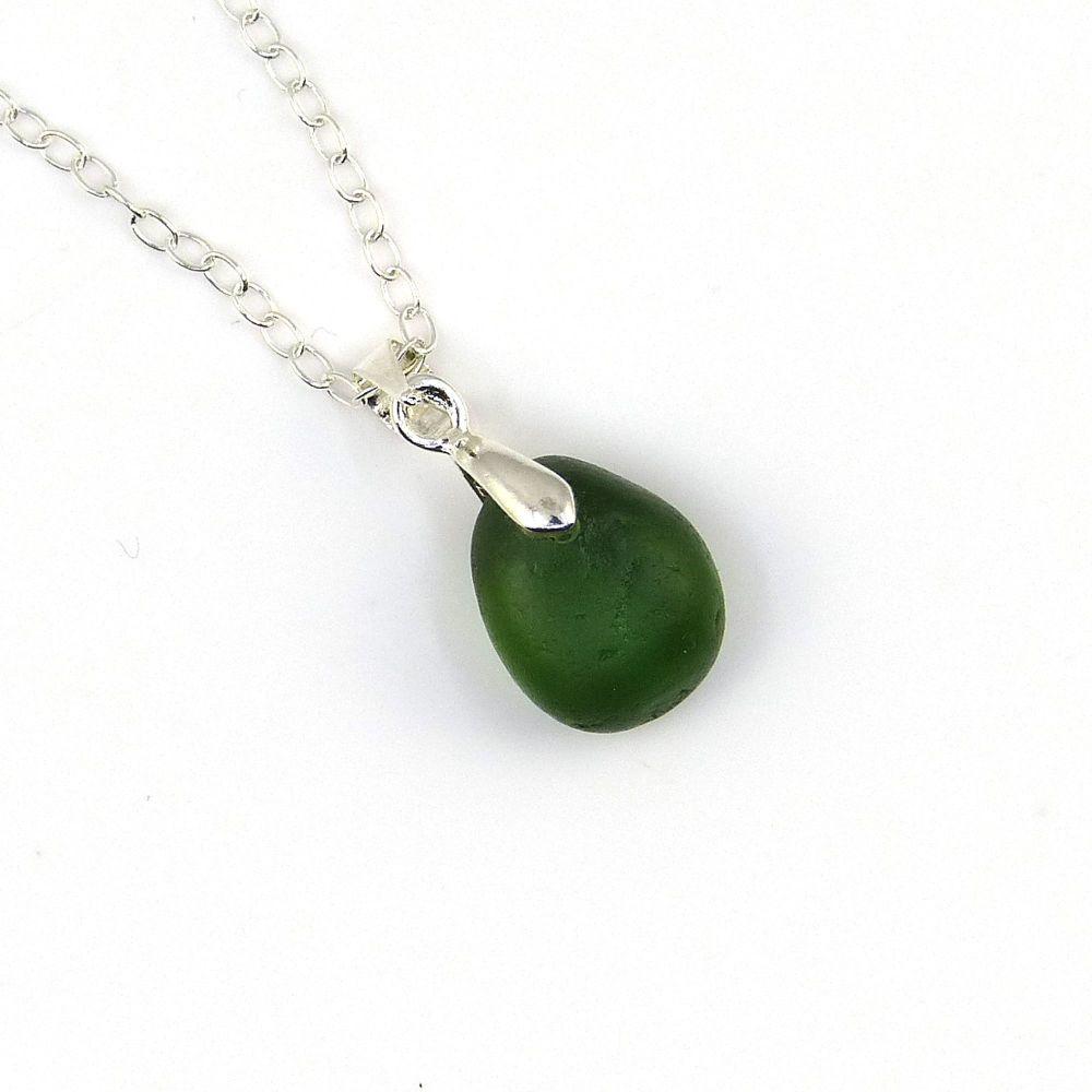Tiny Green English Sea Glass Necklace NICOLE