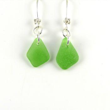 Emerald Green Sea Glass Drop Earrings E183
