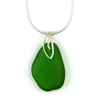 Emerald Green Sea Glass Necklace  JAYNE
