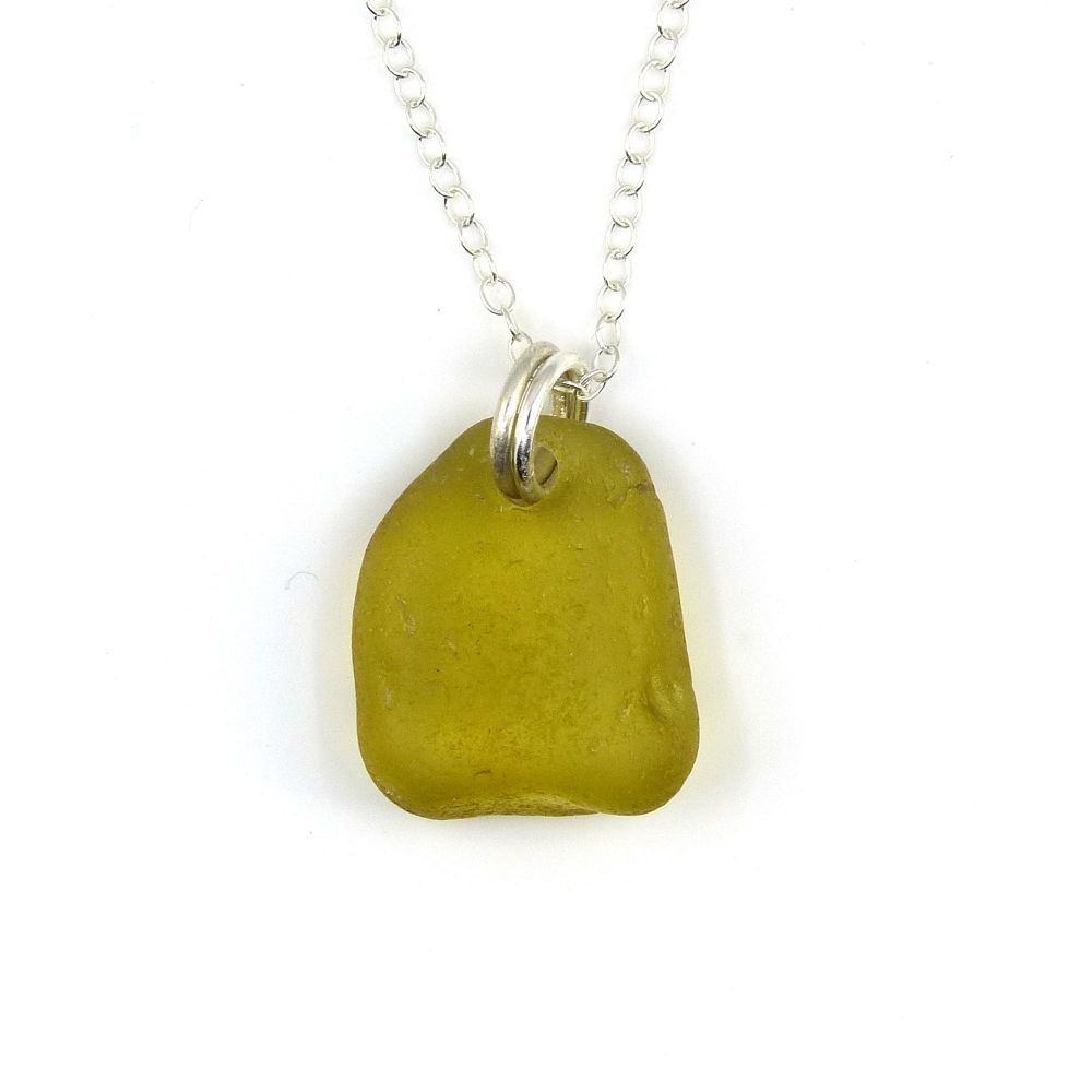 Deep Citron Sea Glass and Sterling Silver Necklace