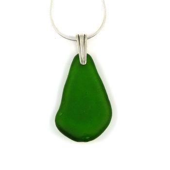 Emerald Green Sea Glass Necklace TAHLIA
