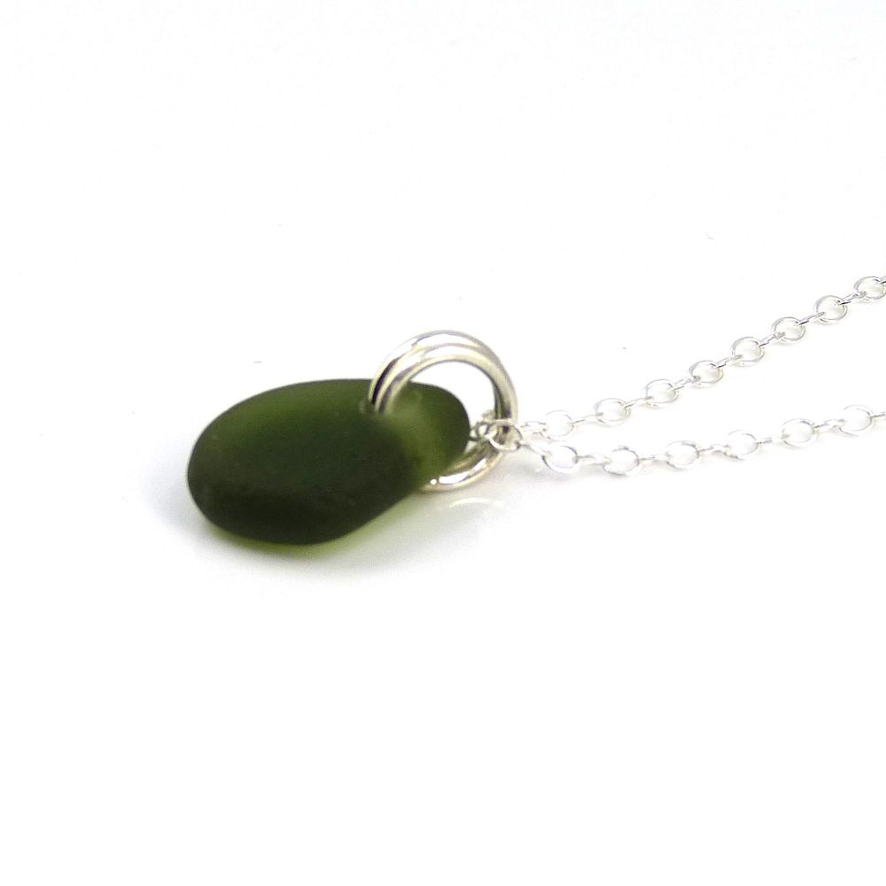 Tiny Deep Green Sea Glass and Sterling Silver Necklace