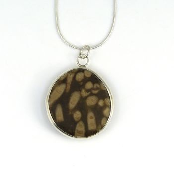 Bezel Set Fossil Stone Pendant Necklace Sterling Silver