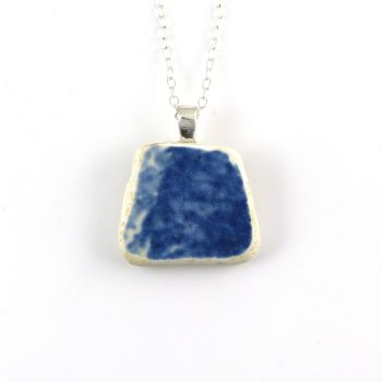 Blue and White English Beach Pottery Pendant Necklace P141