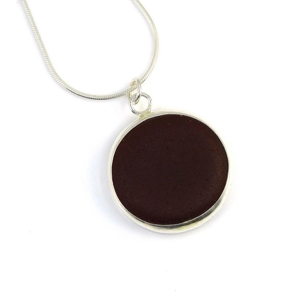 Dark Amber Bezel Set Sea Glass Pendant Necklace CLARA