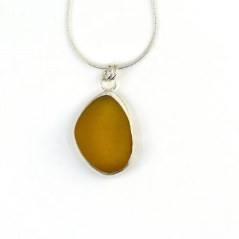 Bezel Set Honey Amber Sea Glass Pendant Necklace  CAYLA