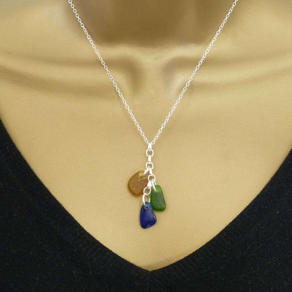 Amber,  Emerald and Cobalt Blue Sea Glass and Sterling Silver Cluster Neckl