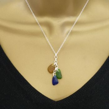 Amber,  Emerald and Cobalt Blue Sea Glass and Sterling Silver Cluster Necklace HARMONY