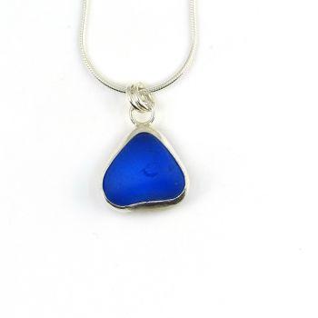 Rare Cobalt Sea Glass Backless Bezel Set Pendant Necklace MIRLA