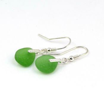 Emerald Green Sea Glass Sterling Silver Drop Earrings E184