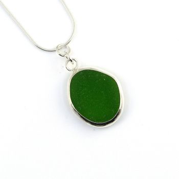 Bezel Set Emerald Green Sea Glass Pendant Necklace LUCETTE