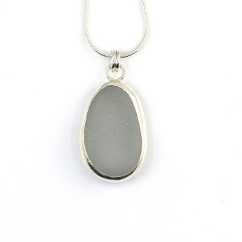 Bezel Set Grey Sea Glass Pendant Necklace HONORE