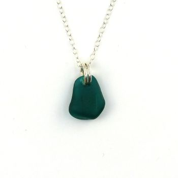 Tiny Lagoon Blue Sea Glass and Sterling Silver Necklace