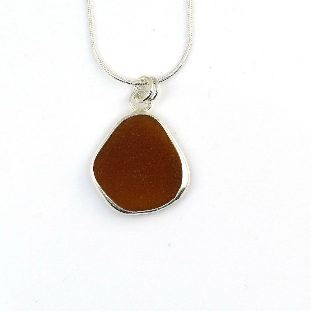 Bezel Set Toffee Sea Glass Pendant Necklace ZURI