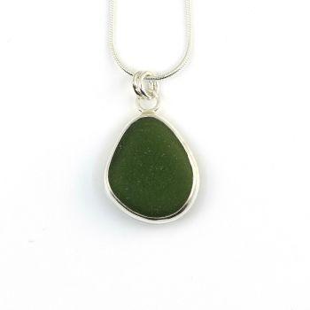 Bezel Set Moss Green Sea Glass Pendant Necklace ISMAY