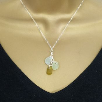 Seamist, Sage and Amber Sea Glass Cluster Necklace CARLY