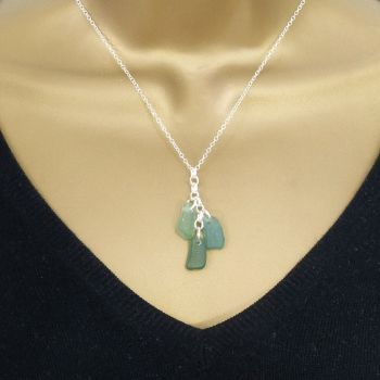 Shades of Jade Sea Glass Cluster Necklace SIRENA